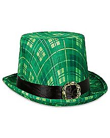 Green Plaid Top Hat