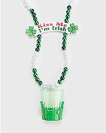 Kiss Me I'm Irish St. Patrick's Day Beads with Shot Glass