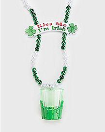 Kiss Me I'm Irish Beads with Shot Glass