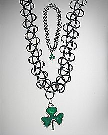 Shamrock Tattoo Choker Necklace