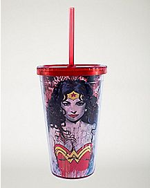 Wonder Woman Cup With Straw 16 oz - DC Comics