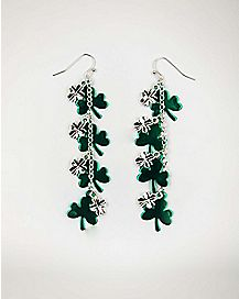 Clover St. Patrick's Day Cluster Dangle Earrings