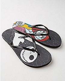 Nightmare Before Christmas Jack and Sally Flip Flops