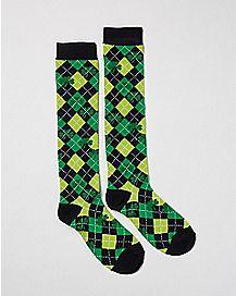 Argyle Shamrock Knee High Socks