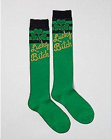 Shamrock Lucky Bitch Knee High Socks