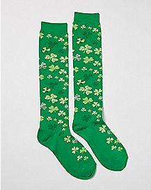Patterned Shamrock Knee High Socks