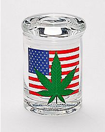 Pot Leaf American Flag Storage Jar - 3 oz.
