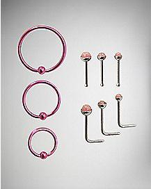 Pink Nose Ring 9 Pack - 20 Gauge
