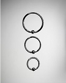 Gun Metal Hoop Nose Ring 3 Pack - 20 Gauge