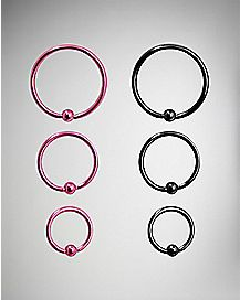 Pink and Black Hoop Nose Ring 6 Pack - 20 Gauge