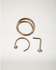 Cz Hoop and Stud Nose Rings 3 Pack - 20 Gauge