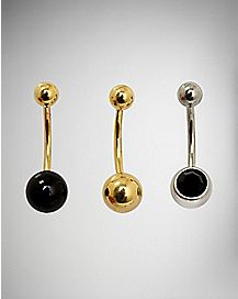Black Stone Belly Ring 3 Pack - 14 Gauge