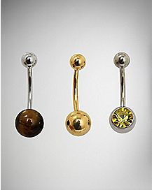 Brown and Yellow Stone Belly Ring 3 Pack - 14 Gauge