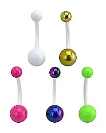 Neon Belly Ring 5 Pack - 14 Gauge