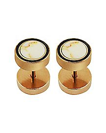 Rose Gold-Plated Marble-Effect Faux Plugs - 16 Gauge