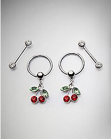 Cherry Captive Nipple Rings and Barbells - 14 Gauge
