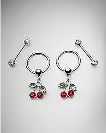 Cherry Captive Nipple Rings and Barbells - 14 Gauge