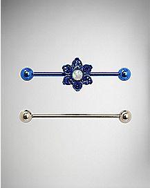 Blue CZ Flower Industrial Barbell 2 Pack - 14 Gauge