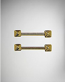 Pyramid Barbell Nipple Rings- 14 Gauge