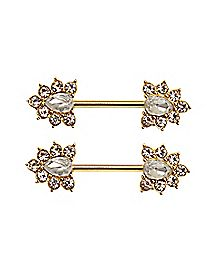 Cz Nipple Ring Barbell - 14 Gauge