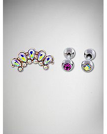 Rainbow Cluster Cartilage Earring 3 Pack - 16 Gauge