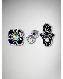 Flower and Hamsa Hand Opal-Effect Cartilage 3 Pack - 16 Gauge