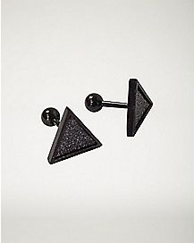 Glitter Triangle Cartilage Earring - 16 Gauge