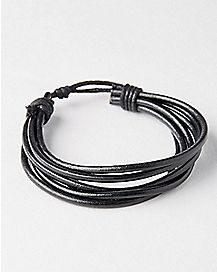 Black Pleather Row Bracelet