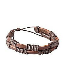 Brown Pleather Wrap Bracelet