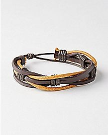 Brown Tonal Pleather Bracelet