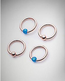 Rose Gold Opal-Effect Captive Rings- 16 Gauge