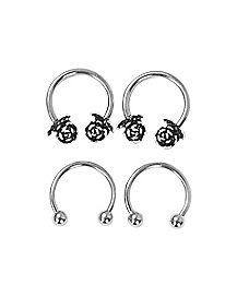 Rose Horseshoe Rings 4 Pack - 16 Gauge