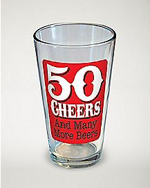 50 Cheers and Many More Beers Pint Glass - 16 oz