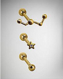 Constellation Cartilage Rings 3 Pack - 16 Gauge