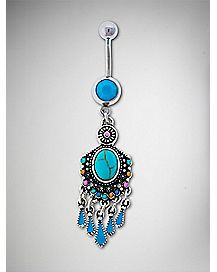 Boho Turquoise-Effect Dangle Belly Ring - 14 Gauge