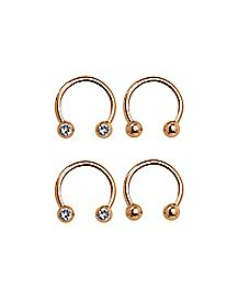 Cz Horseshoe Rings 4 Pack - 16 Gauge