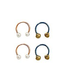 Shell Pearl Horseshoe Rings 4 Pack - 16 Gauge