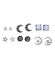 White Stone Moon and Star Earring 6 Pair