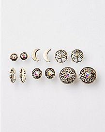 Feather Moon Tree Earrings - 6 Pair