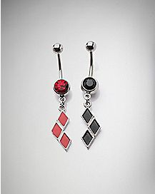 Best Friend Harley Quinn Dangle Belly Ring - 14 Gauge