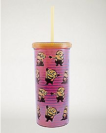Striped Minions Cup with Straw 20 oz - Despicable Me