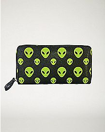 Alien Head Zip Wallet