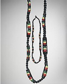 Rasta Beaded Disk Necklace