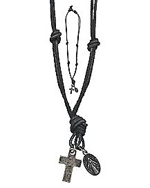 Leather Religious Cross Necklace