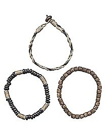 Hemp Bead Bracelets - 3 Pack