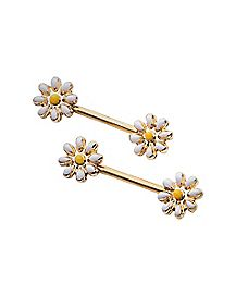 Daisy Barbell Nipple Rings - 14 Gauge