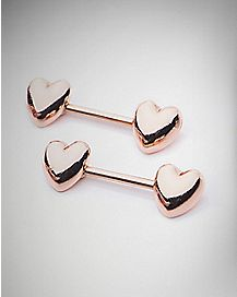 Heart Barbell Nipple Rings - 14 Gauge