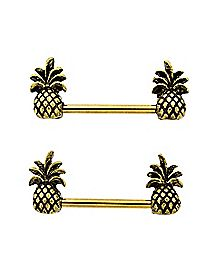Pineapple Barbell Nipple Rings 1 Pair - 14 Gauge