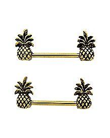 Pineapple Barbell Nipple Rings 1 Pack - 14 Gauge