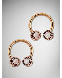 Opal-Effect Rose Gold-Plated Moon Horseshoe Rings- 14 Gauge